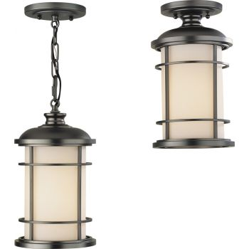 "Feiss Lighthouse Duo-Mount 7"" Hanging Lantern in Bronze"