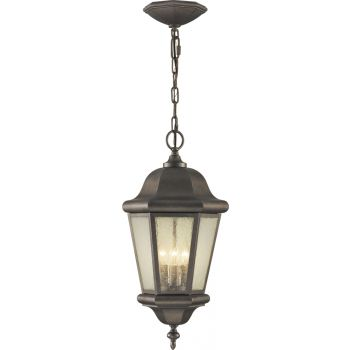 "Feiss Martinsville Collection 10"" Outdoor Hanging Lantern in Bronze"
