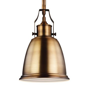 "Feiss Hobson 7.5"" 1-Light Mini-Pendant in Aged Brass w/ Metal Shade"