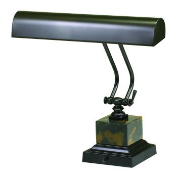"House of Troy 14"" Mahogany Bronze/Black and Tan Marble Piano DeskLamp"