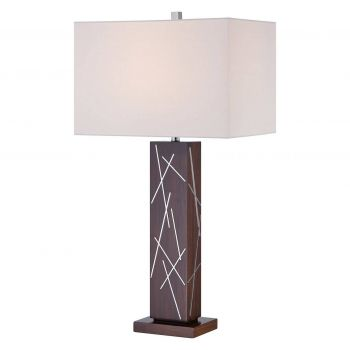 George Kovacs Portables Table Lamp in Dark Walnut With Silver Accents