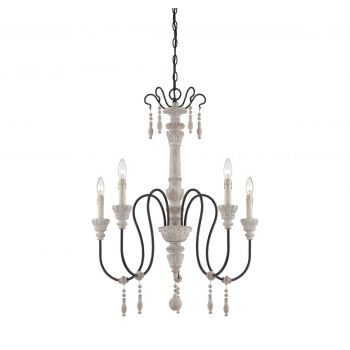Piedmont 5-Light Chandelier in White Washed Driftwood