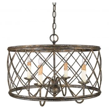 "Quoizel Dury 21"" Pendant in Century Silver Leaf"