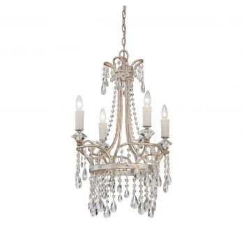 "Quoizel Tricia 21"" Chandelier in Vintage Silver"