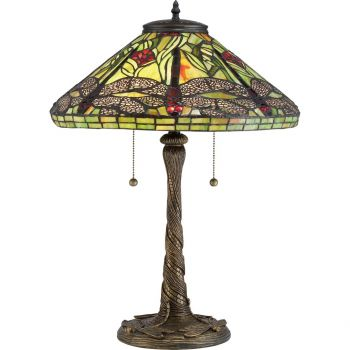 "Quoizel Tiffany 17.25"" 2-Light Table Lamp in Architectural Bronze"