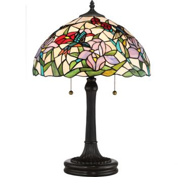 "Quoizel Tiffany 23"" 2-Light Tiffany Glass Table Lamp in Vintage Bronze"