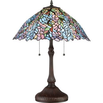 "Quoizel Tiffany 24"" 2-Light Tiffany Glass Shade Table Lamp in Russet"