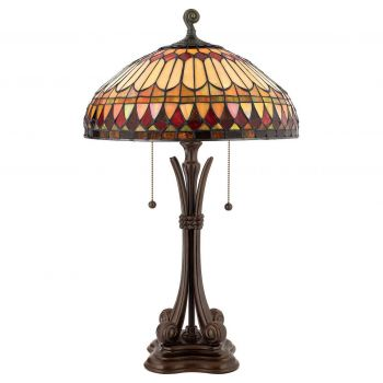 "Quoizel West End Tiffany 26.5"" 2-Lt Table Lamp in Bullion"