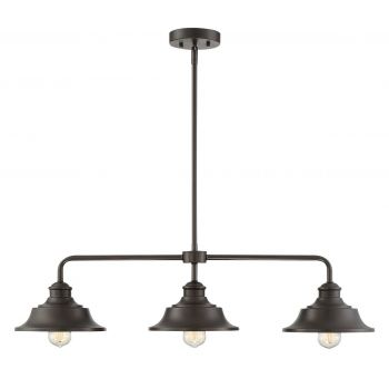 Trade Winds Industrial 3-Light Linear Chandelier in Oil Rubbed Bronze