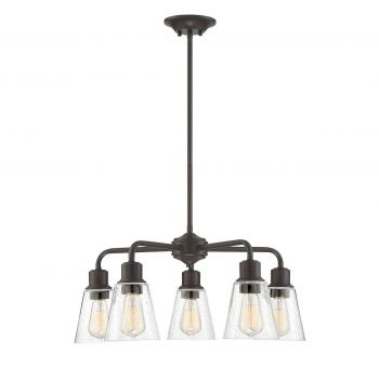 Trade Winds Industrial 5-Light Chandelier in Oil Rubbed Bronze /w Seedy Glass