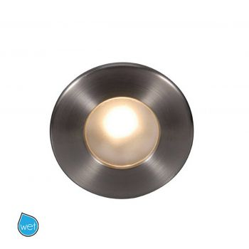 WAC LEDme Full Round Indoor/Outdoor Step and Wall Light in Brushed Nickel