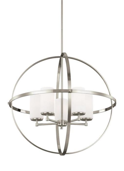 Sea gull lighting alturas 5 light chandelier in brushed nickel skip to the end of the images gallery mozeypictures Image collections