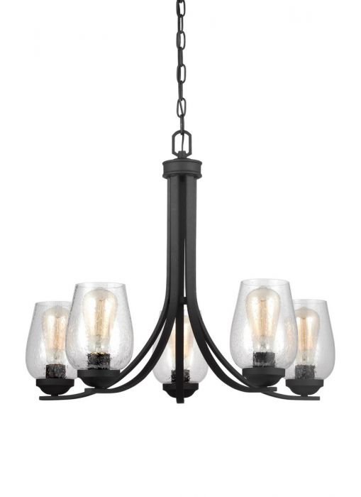 Sea gull lighting morill 5 light clear seeded chandelier in blacksmith contemporary chandeliers chandeliers