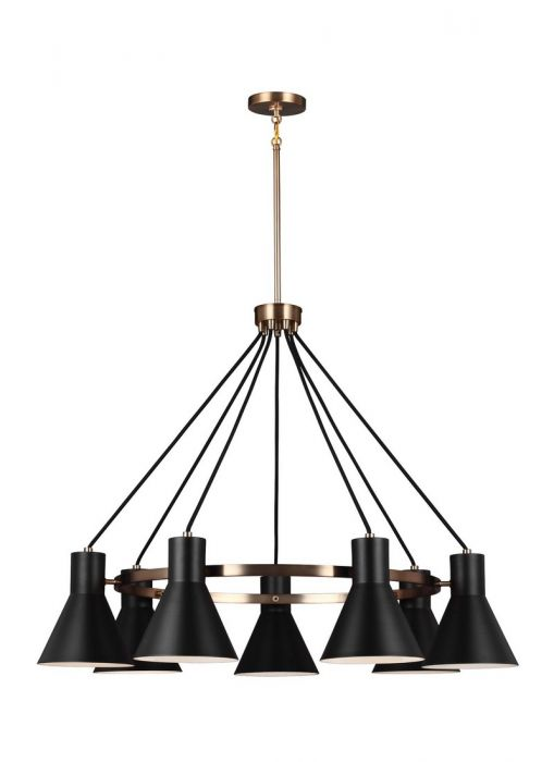 Sea gull towner 35 7 light black steel shade chandelier in satin bronze mozeypictures Gallery