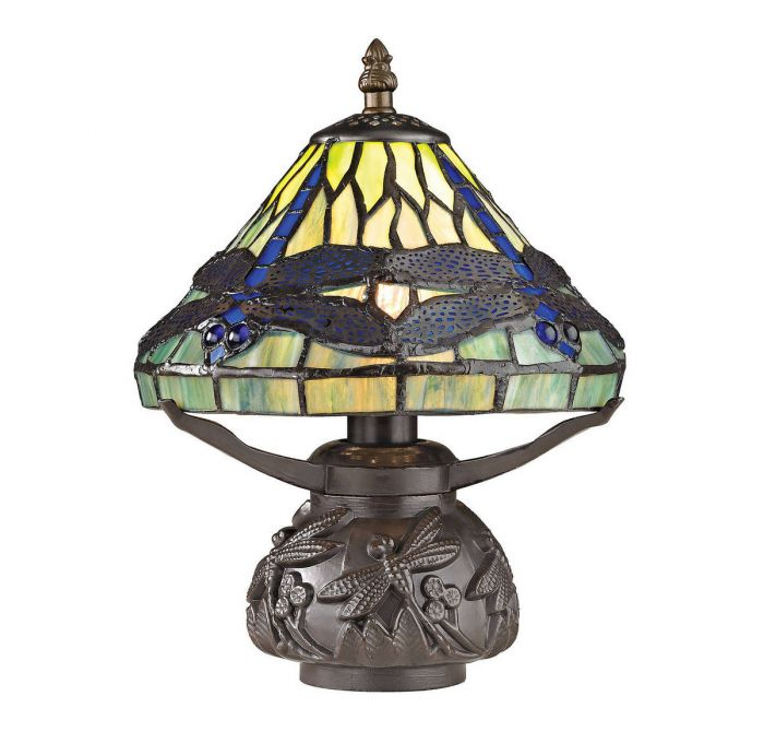 Dimond flintwick 11 mini tiffany glass table lamp in dark bronze dimond flintwick 11 mini tiffany glass table lamp in dark bronze table lamps lamps aloadofball Images
