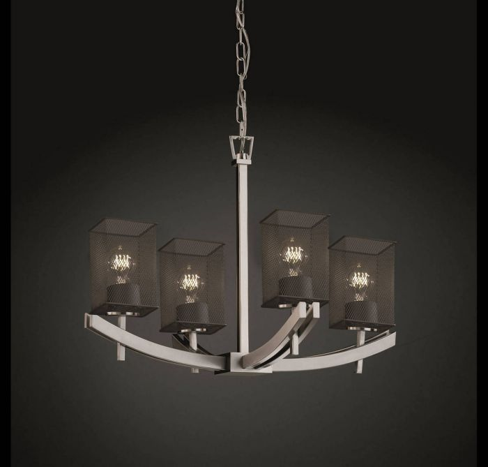 Justice Design Archway 4-Light Chandelier in Brushed Nickel - Multi ...