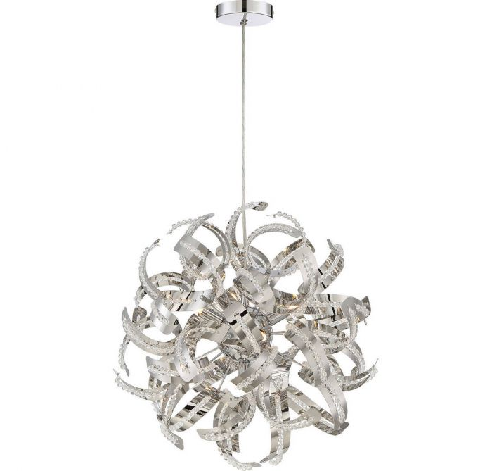 Quoizel ribbons 17 5 light pendant in crystal chrome globe quoizel ribbons 17 5 light pendant in crystal chrome globe pendants pendant lights ceiling lights aloadofball Gallery