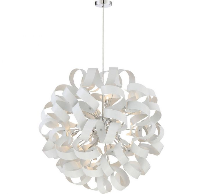Quoizel ribbons 31 12 light chandelier in white lustre globe quoizel ribbons 31 12 light chandelier in white lustre globe pendants pendant lights ceiling lights aloadofball Image collections