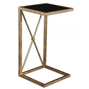 "Uttermost Zafina 13"" Black Tempered Glass Side Table in Antique Gold Iron"