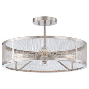 Minka Lavery Downtown Edison 4-Light Semi-Flush in Brushed Nickel