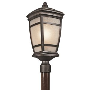 "Kichler McAdams 1-Light 22.25"" Outdoor Post Lantern in Rubbed Bronze"