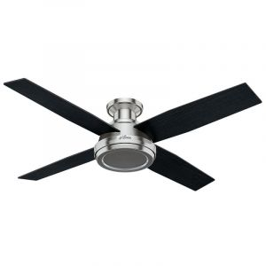 """Hunter Dempsey 52"""" Indoor Ceiling Fan w/ Remote in Brushed Nickel/Chrome"""