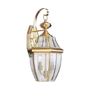 """Sea Gull Lancaster 20.5"""" 2-Light Outdoor Wall Lantern in Polished Brass"""