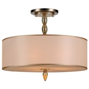 Crystorama Luxo 3-Light Drum Shade Chandelier in Antique Brass