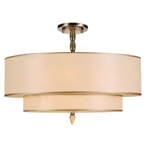 Crystorama Luxo 5-Light Semi-Flush in Antique Brass