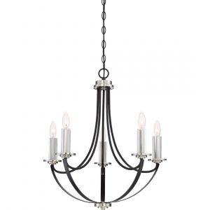 "Quoizel Alana 23.25"" 5-Light Chandelier in Mystic Black"