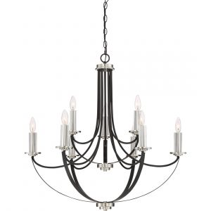 "Quoizel Alana 32"" 9-Light Chandelier in Mystic Black"