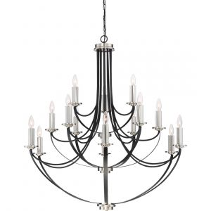 "Quoizel Alana 41"" 15-Light Chandelier in Mystic Black"