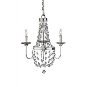 "Feiss Malia 19 3/4"" 3-Light Mini Chandelier in Polished Nickel Finish"