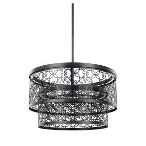 Feiss Arramore 24 Inch Two-Tier Outdoor LED Pendant in Dark Weathered Zinc