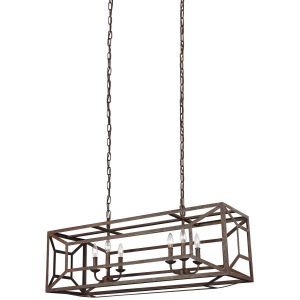 "Feiss Marquelle 41.75"" 6-Light Island Chandelier in Weathered Iron"