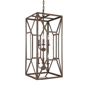"""Feiss Marquelle 16.5"""" 6-Light Foyer Chandelier in Weathered Iron"""