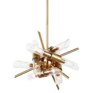 """Feiss Quorra 16.75"""" 12-Light Clear Fluted Chandelier in Burnished Brass"""