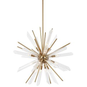 """Feiss Quorra 32.5"""" 16-Light Clear Fluted Chandelier in Burnished Brass"""