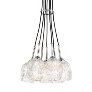 "Feiss Rubin 13.25"" 7-Light Clear Glass Pendant in Polished Nickel"