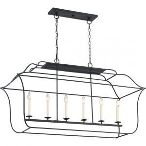 "Quoizel Gallery 48"" 6-Light Island Chandelier in Royal Ebony"