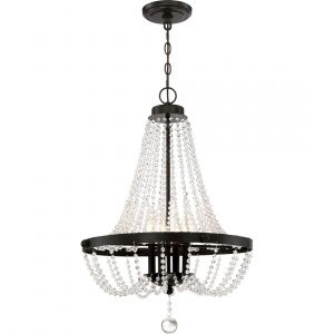 "Quoizel Livery 21.25"" 4-Light Pendant in Western Bronze"