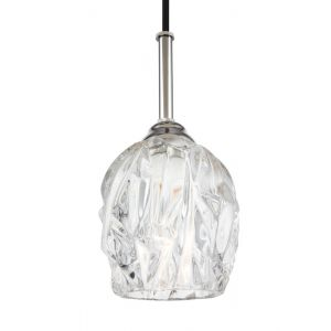 "Feiss Rubin 4.5"" Clear Glass Mini Pendant in Polished Nickel"