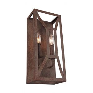 "Feiss Marquelle 16"" 2-Light Wall Sconce in Weathered Iron"