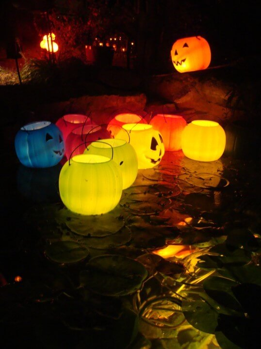 halloween lighting. Put LED Tealights In Plastic Jack-o-lantern Buckets If You Have A Pond Halloween Lighting O