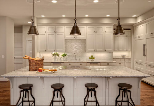 Transitional Kitchen Lighting Mixing metals is ok get this lighting look with the hudson valley darien photo credit transitional kitchen by workwithnaturefo